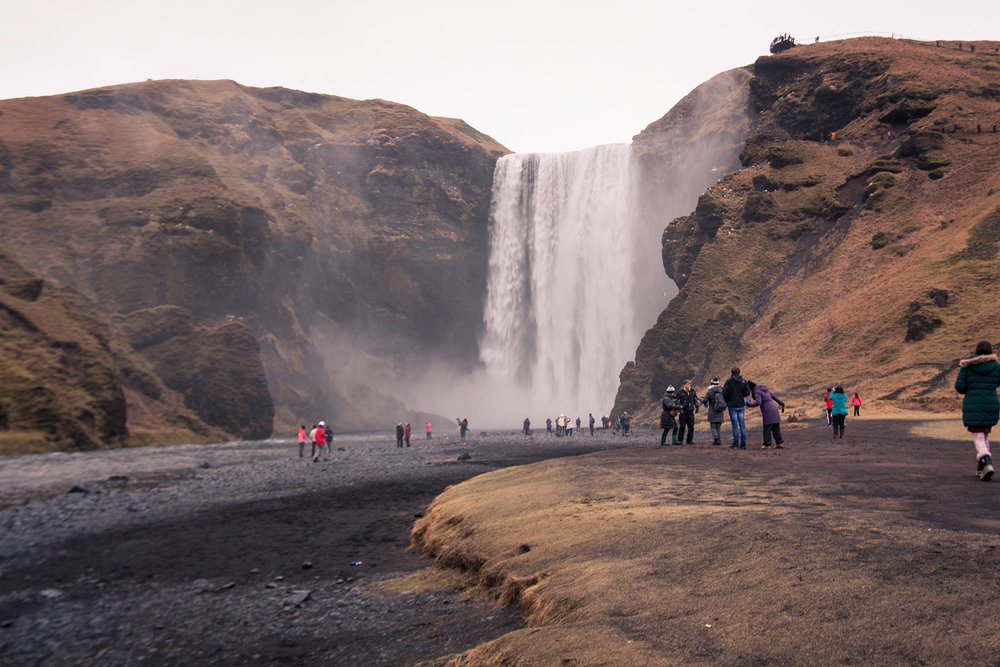 Skogafoss on a moody day