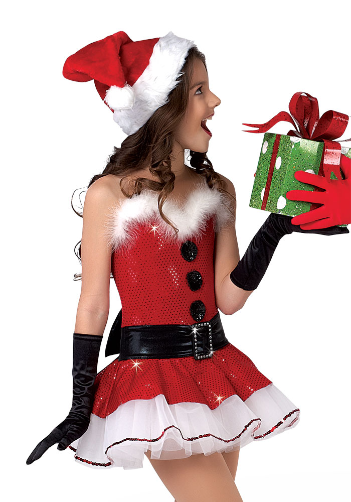 You will not be supplied the black gloves or red santa hat. They will not be needed for our shows.
