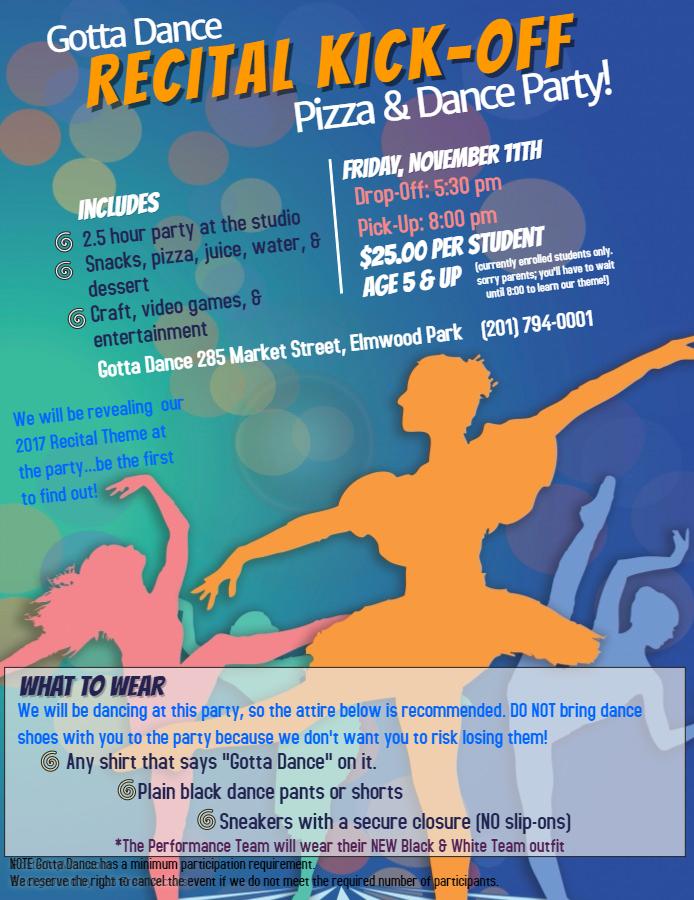 11/11: Recital Kick-Off Party