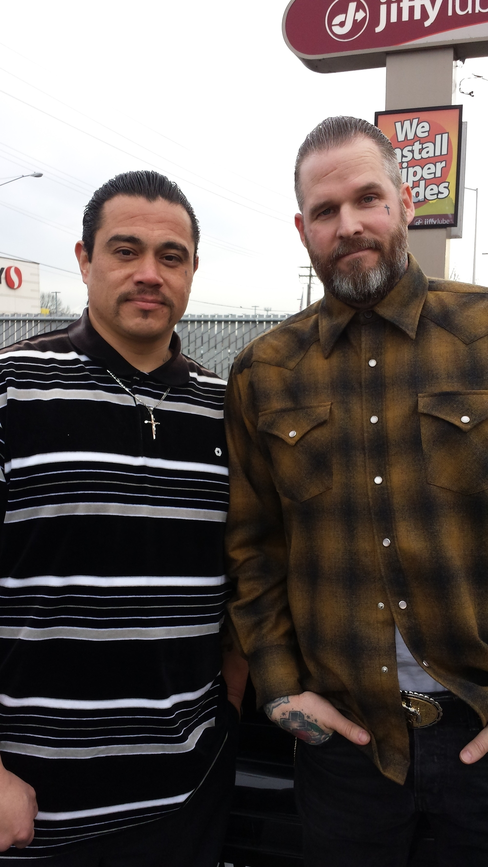Former inmate Ruben Lira (left) and anchor ministry founder John ewell (right)