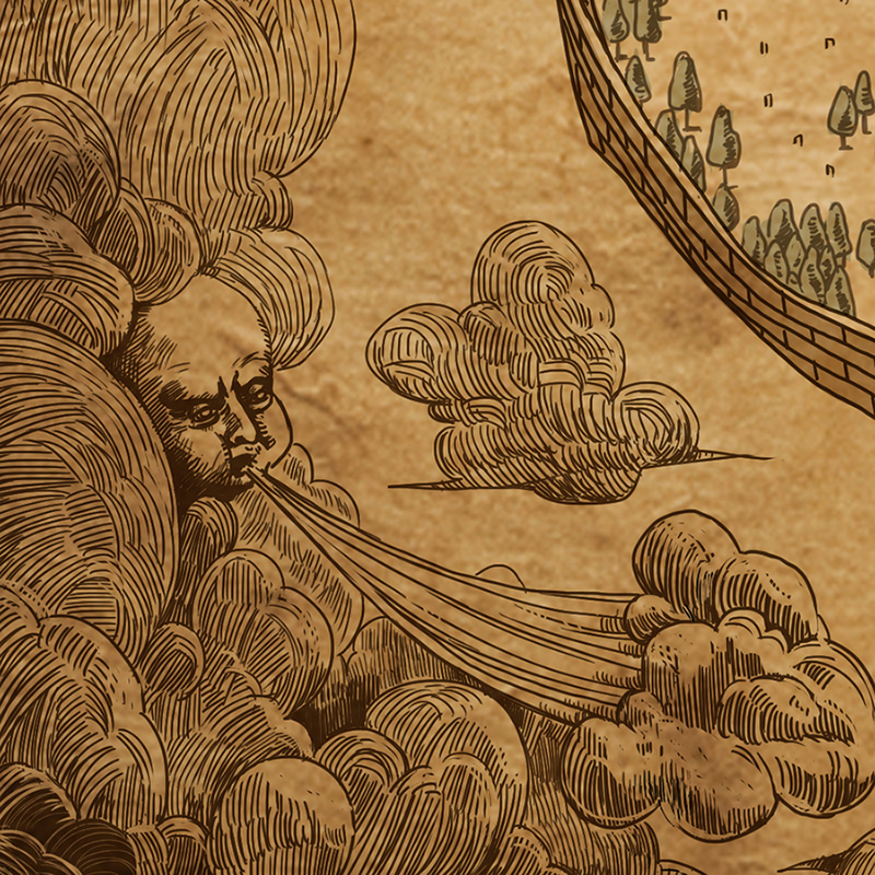 Cloud and wind - Map corner decoration details