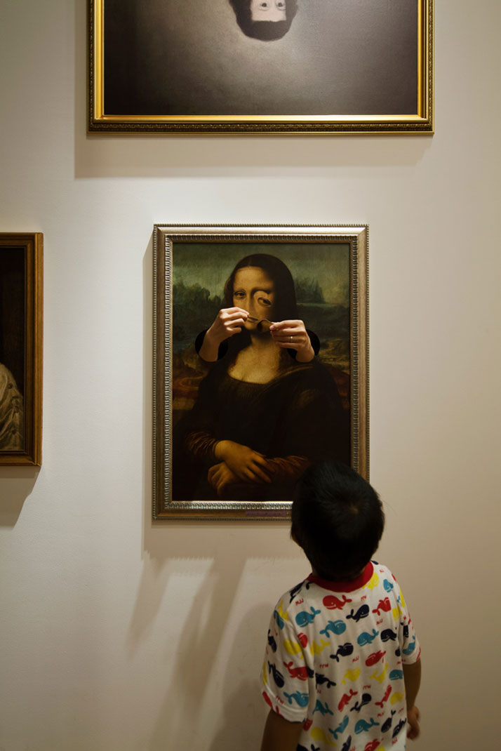 above: Active distortion of Da Vinci's famous Mona Lisa portrait, a young museum visitor looks on. (img source) below: Screencap from the computer game Ib (img source)