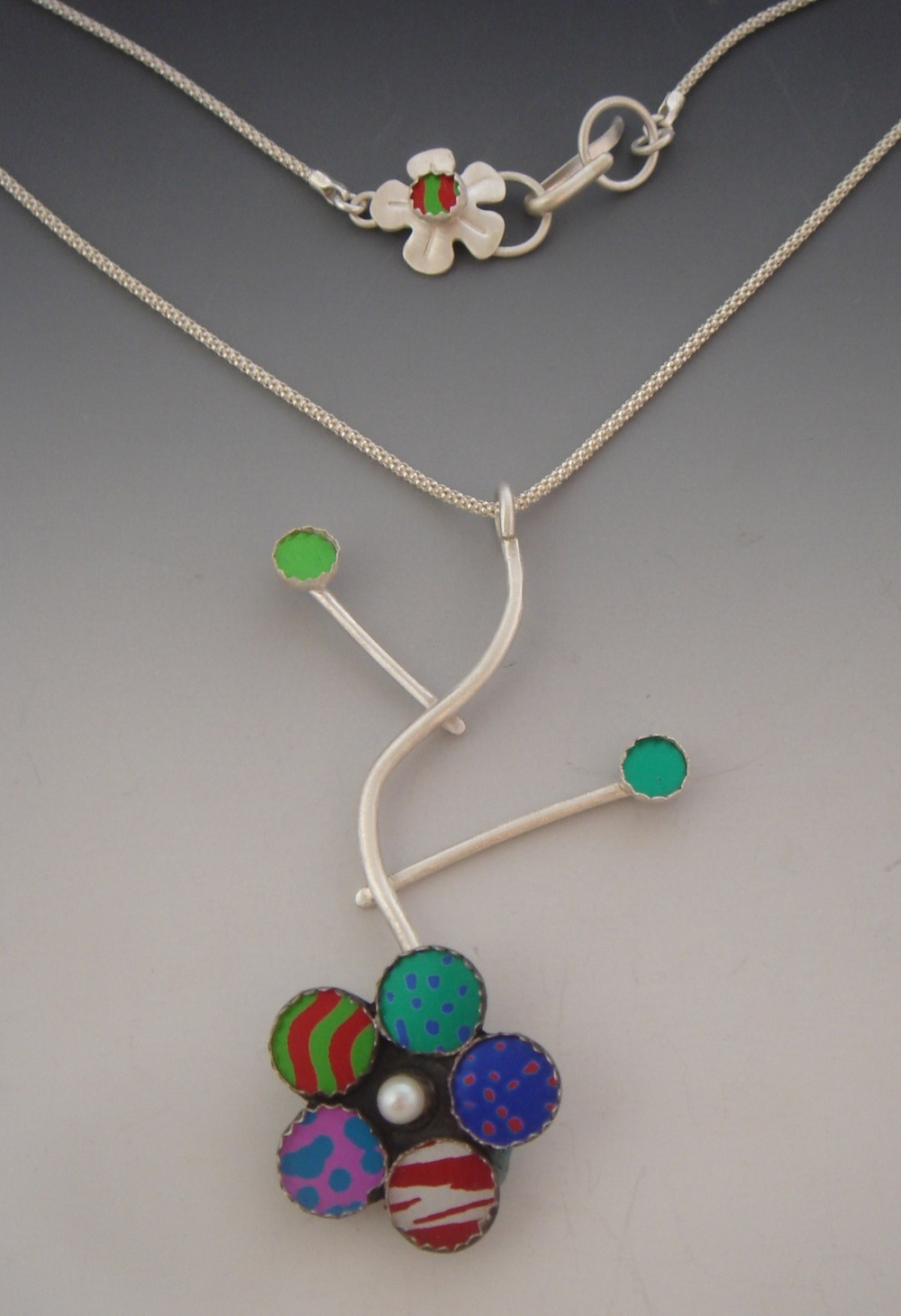 My Garden Has Many Colors Anodized Aluminum, Sterling Silver, Freshwater Pearl  $425