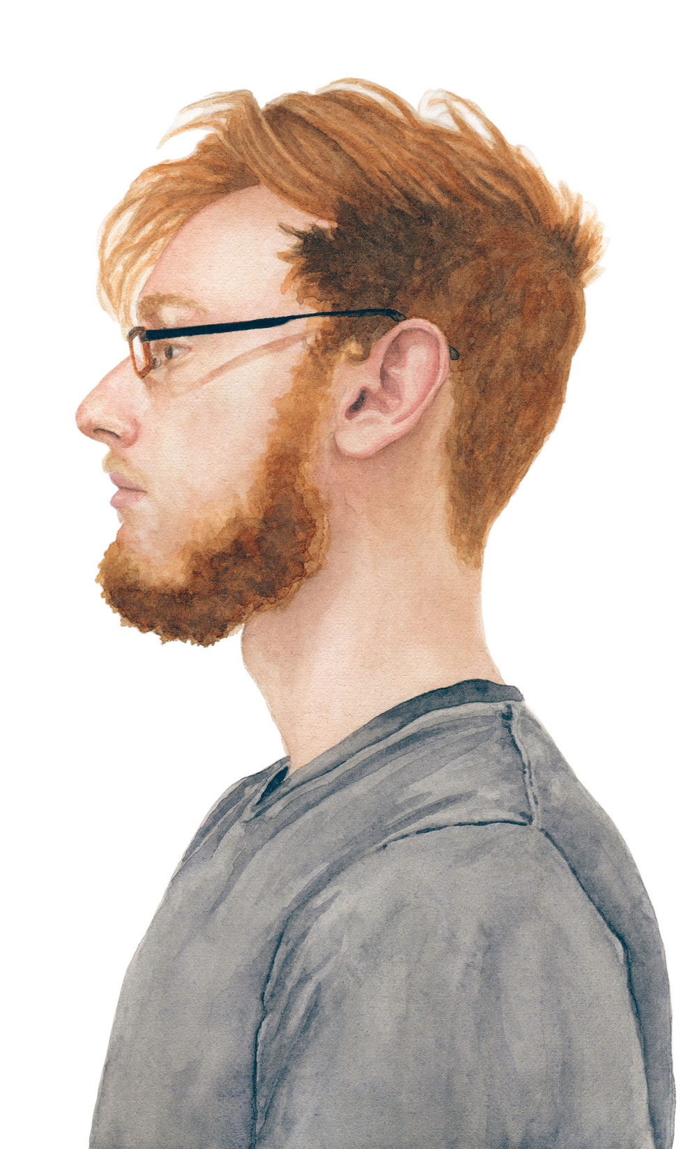 "Ben, 2012 watercolor 5.25"" x 8.5"""