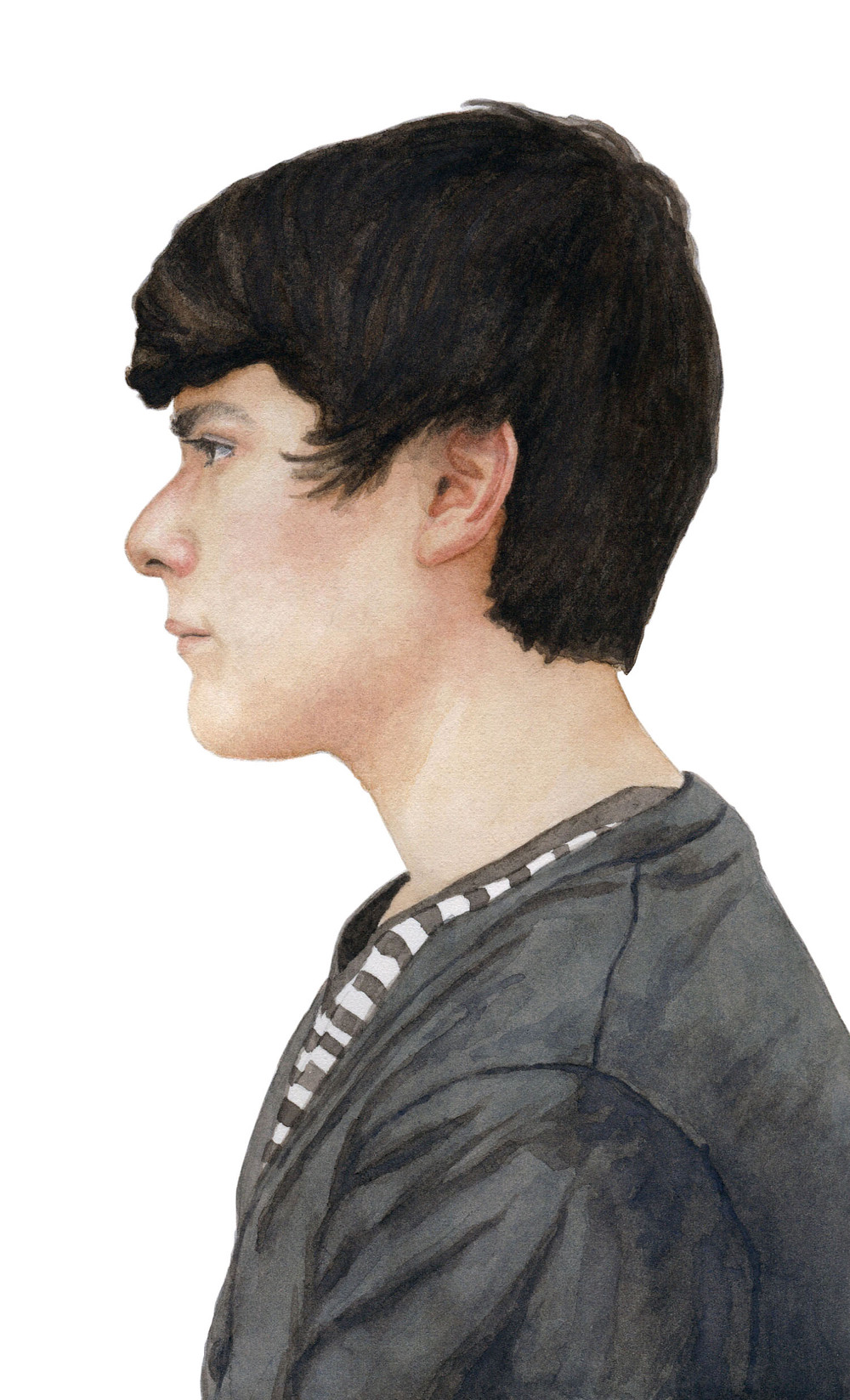 "Daniel, 2012 watercolor 5.25"" x 8.5"""