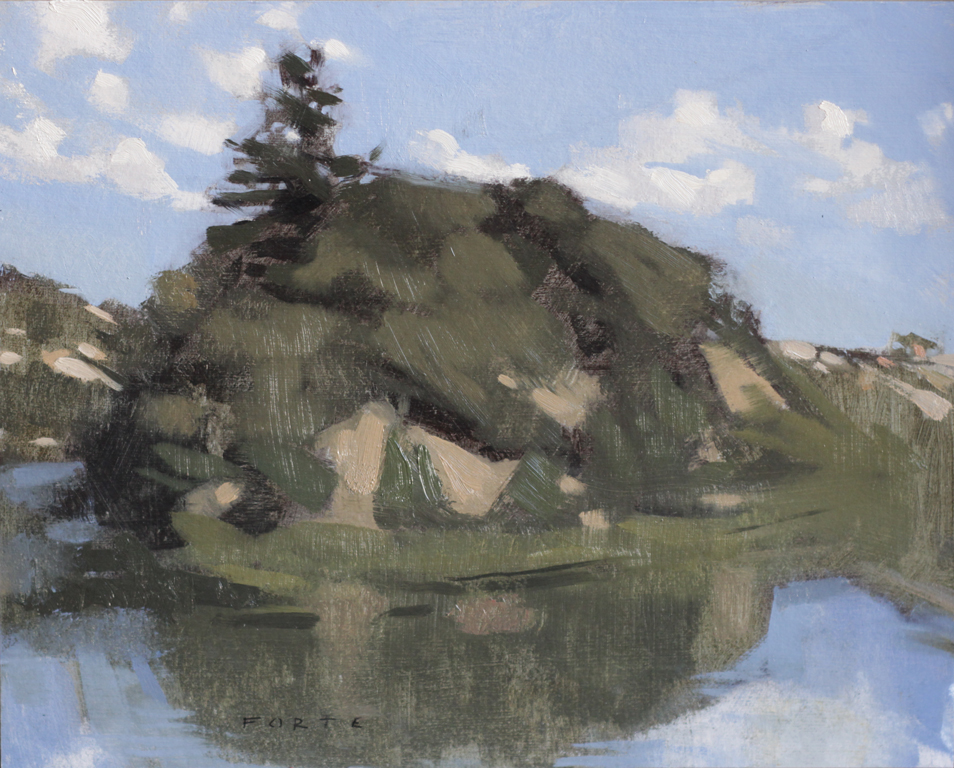 """Horseshoe Lake, oil on paper,8""""x10"""", private collection"""