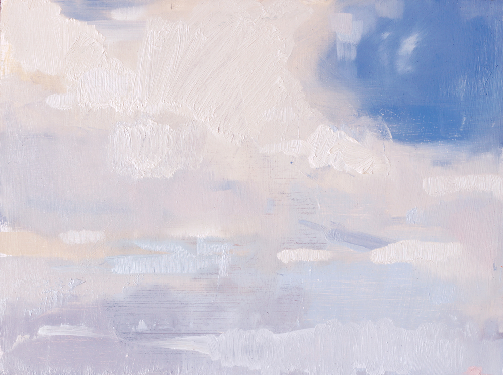 "Clouds at Corona Heights, oil on panel, 9""x12"""