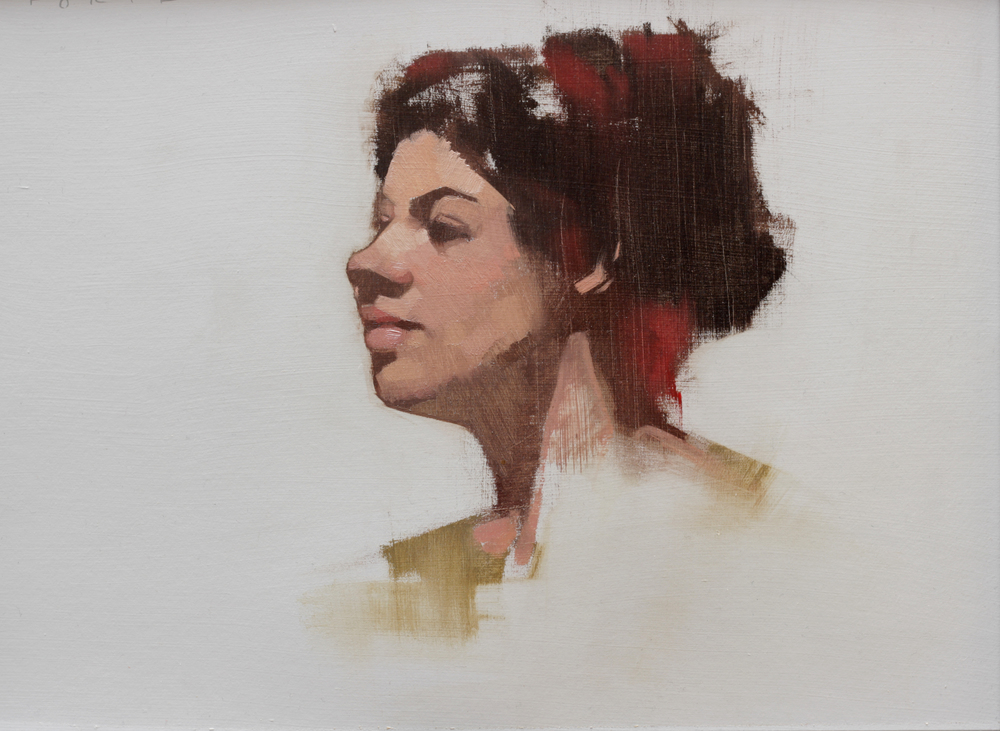 "Study of Aja, oil on paper, ""9""x12"" private collection"