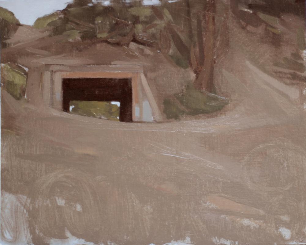 "Fort Funston, oil on paper, 8""x10"""