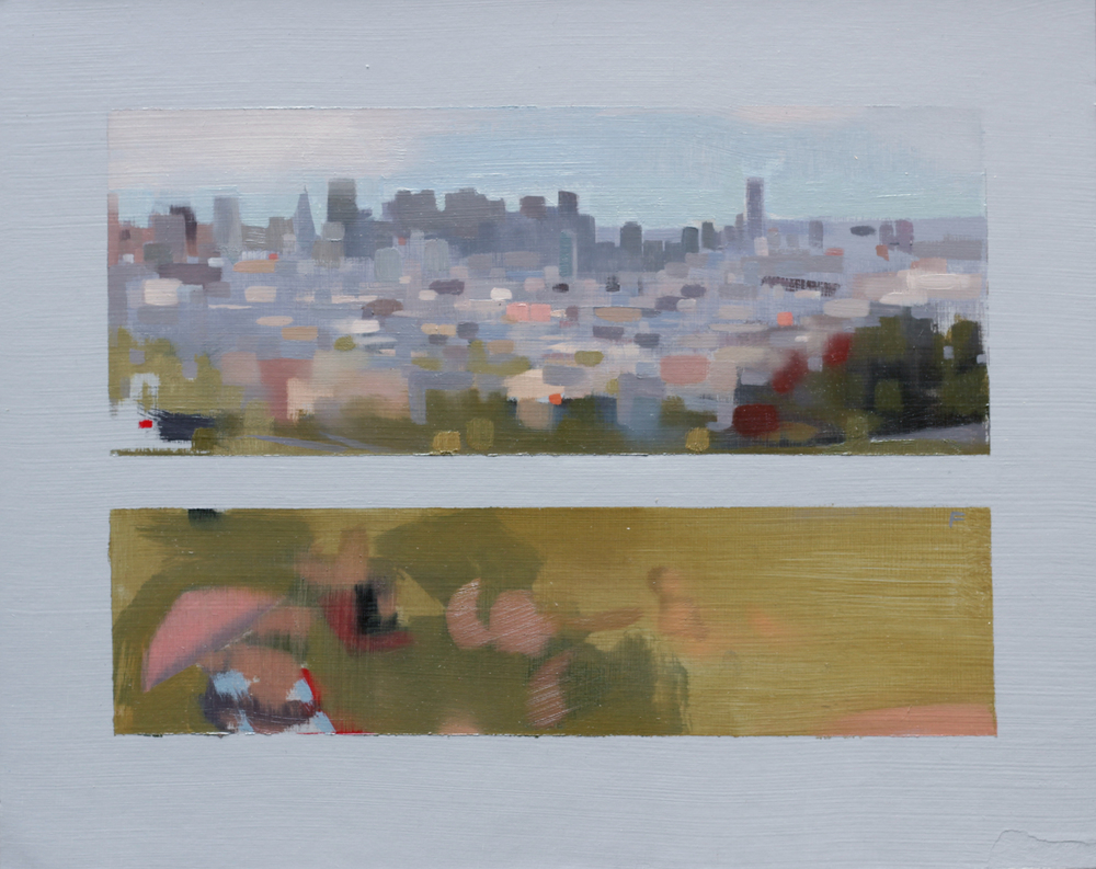 "Skyline and Gay Beach at Dolores Park, oil on paper, 8""x10"""