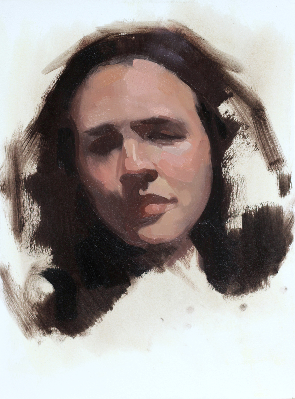 "Brunette, oil on Arches oil paper, 9""x12""   private collection"