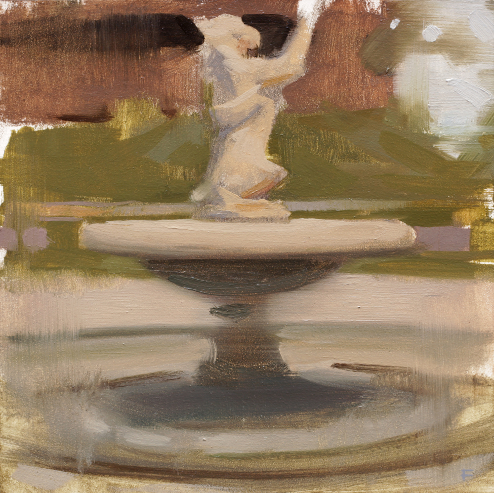"""Fountain at The de Young, oil on panel, 4""""x4"""""""