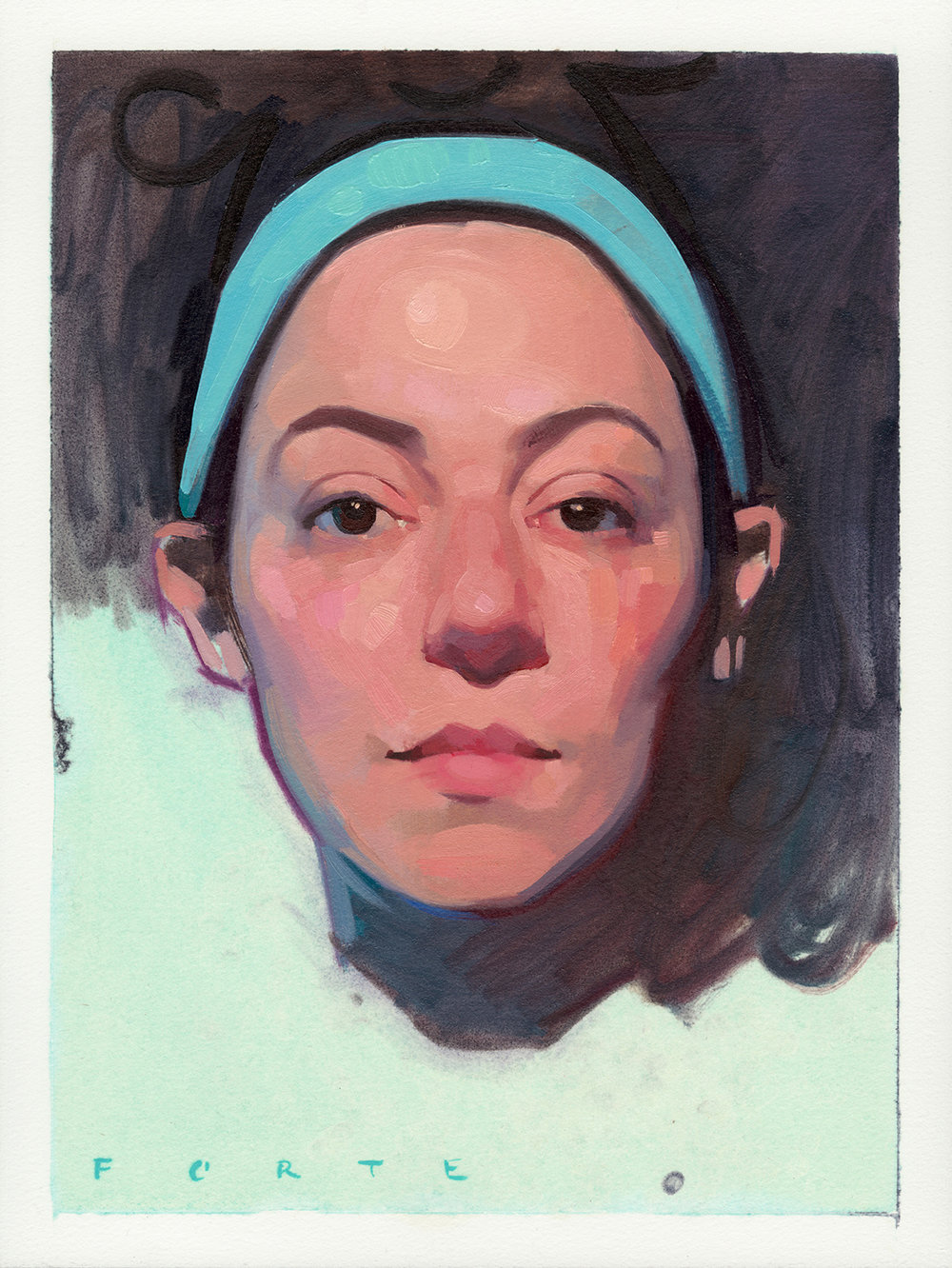 "Self Portrait 2017, oil on paper, 12""x16"", private collection"