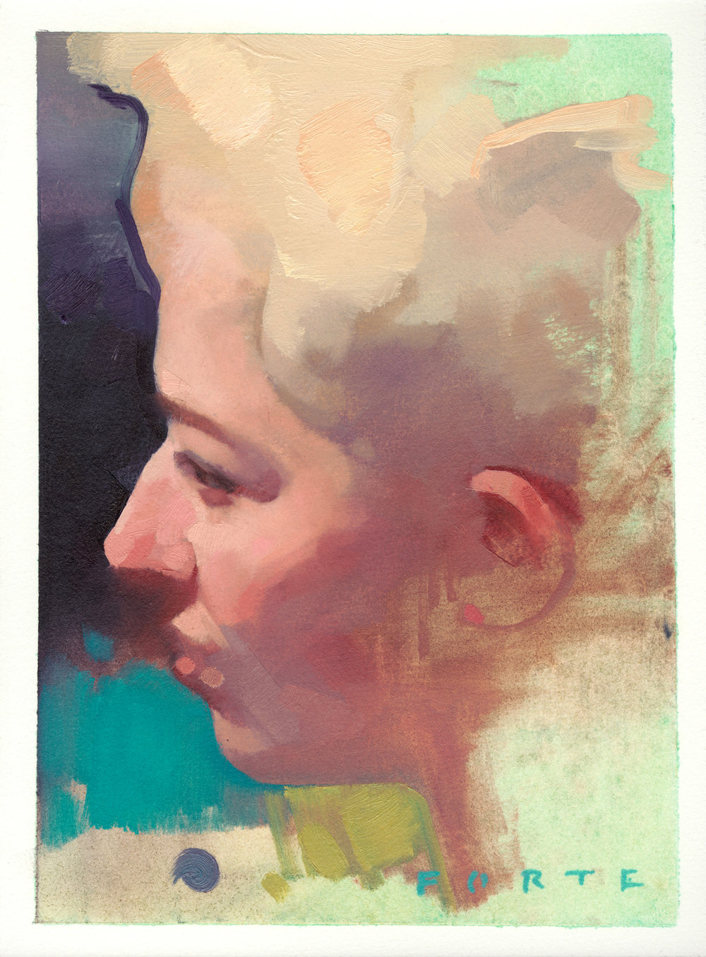 "Self Portrait Profile, oil on paper, 9""x12"", private collection"