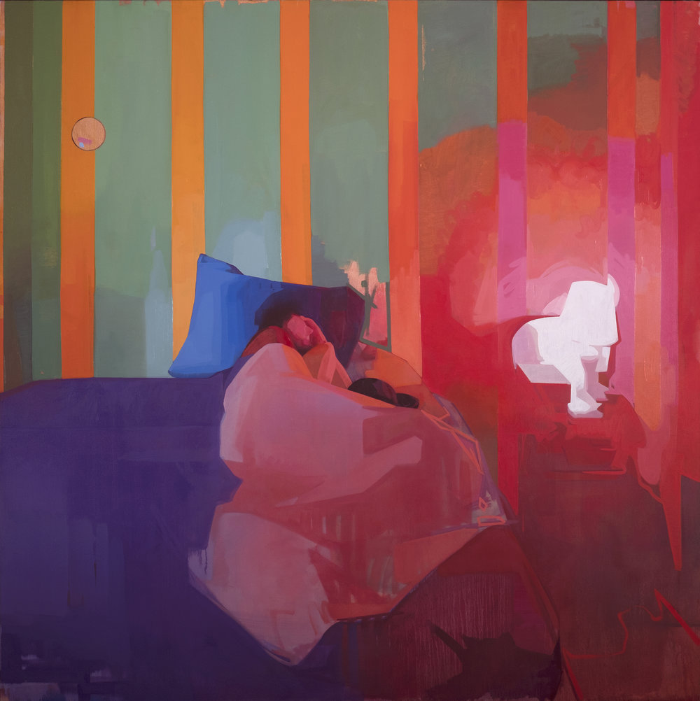 "Time Traveler, (Matthew Napping), oil on linen, 72""x72"" has been awarded second prize in the  BP Portrait Award 2018   The  BP Portrait Award 2018  exhibition will run at the National Portrait Gallery in London from  14 June to 23 September 2018 . The exhibition will then go on tour to Wolverhampton Art Gallery (13 October - 2 December 2018), Scottish National Portrait Gallery, Edinburgh (December 2018 - March 2019) and Cartwright Hall, Bradford (March - June 2019).   Judges' comments:    ""This is a riot of color with a brilliant use of paint. While there is no modeling or shading- it's just blocks of color- the painting still exudes so much atmosphere. It's a very bold portrait, but also distinctly personal and intimate.""  Press:  The Guardian"