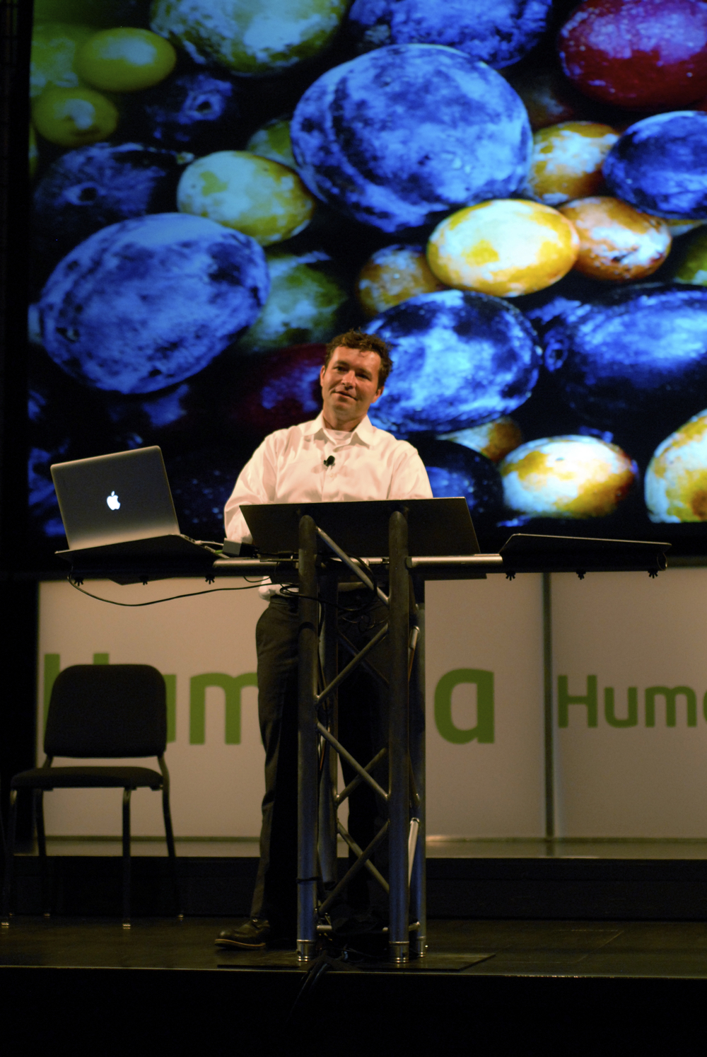 Sam Van Atken, a Creative Capital grantee, presents his tree of 40 fruits at Idea Festival 2012 in Louisville.