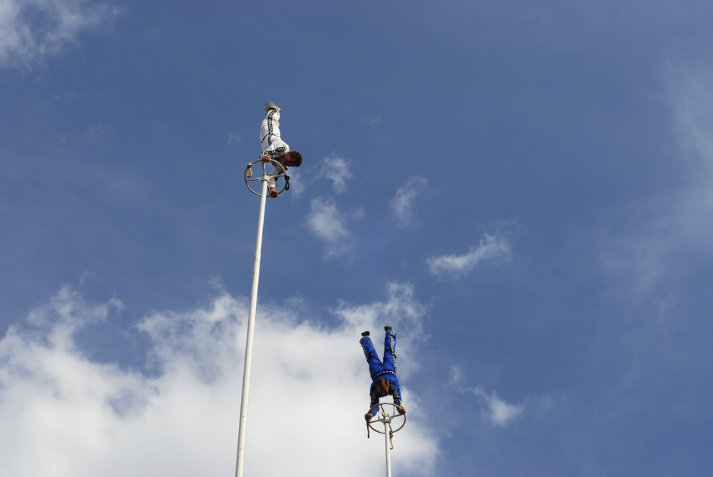 Members of the Nerveless Nocks perform handstands far above the audience at the Kentucky State Fair.