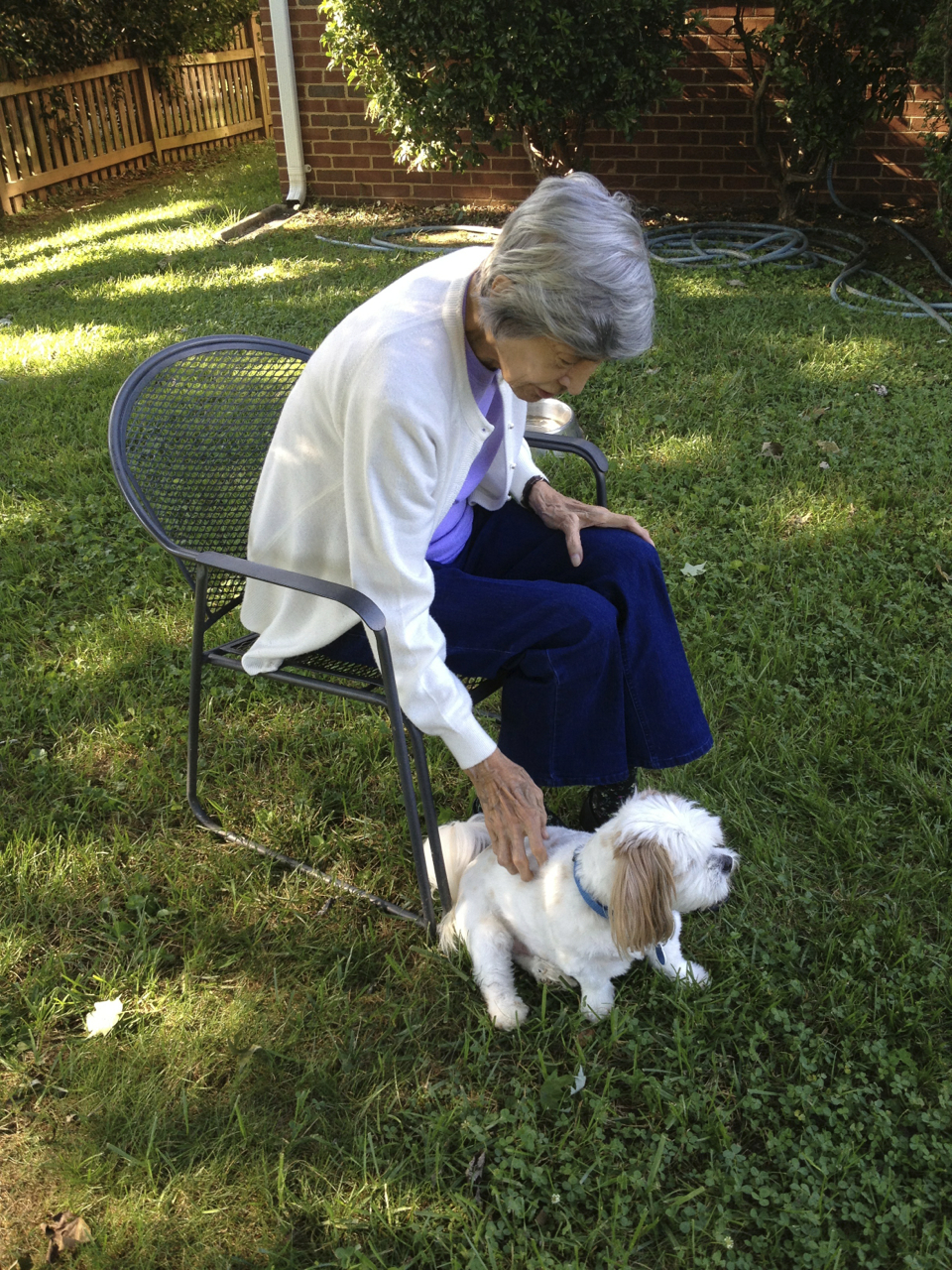 Grandma and the best little dog of three