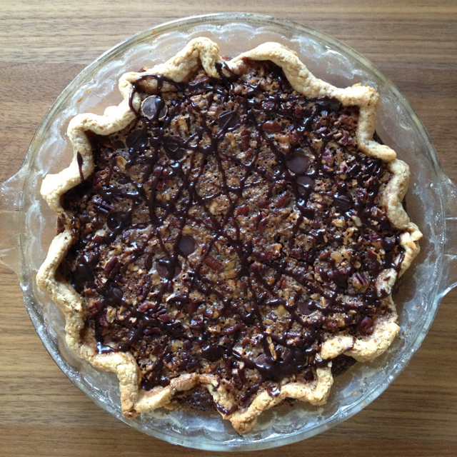 Chocolate maple pecan pie, attempt number two -- Thanksgiving dinner-worthy.