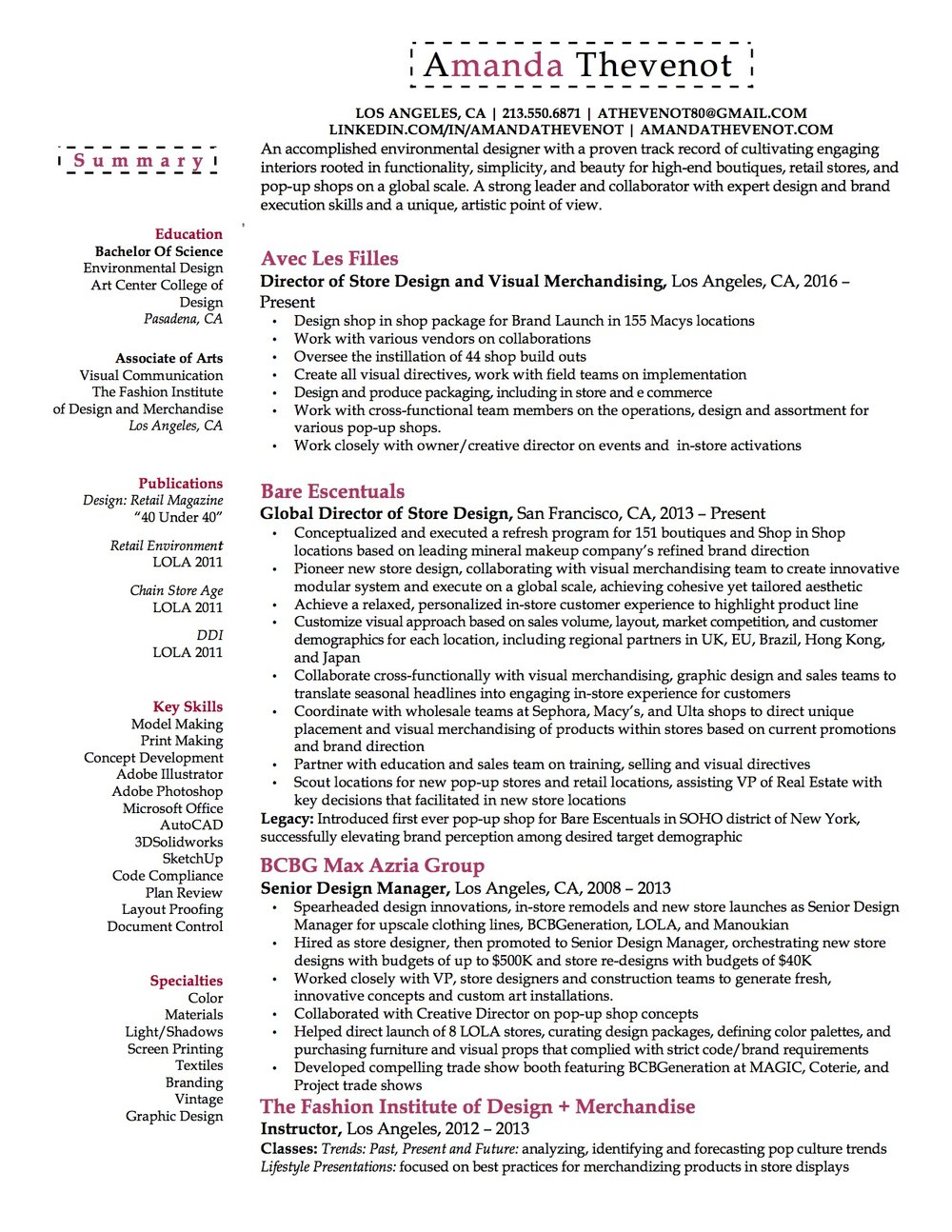 Resume — Amanda Thevenot