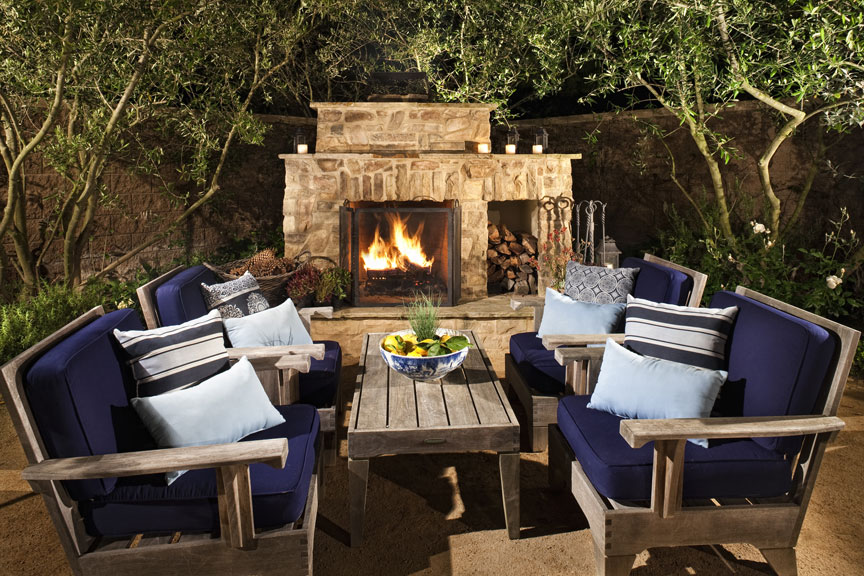 Outdoor Living at its best. Style, a comfortable space to relax, and warmth on breezy cool coastal night.