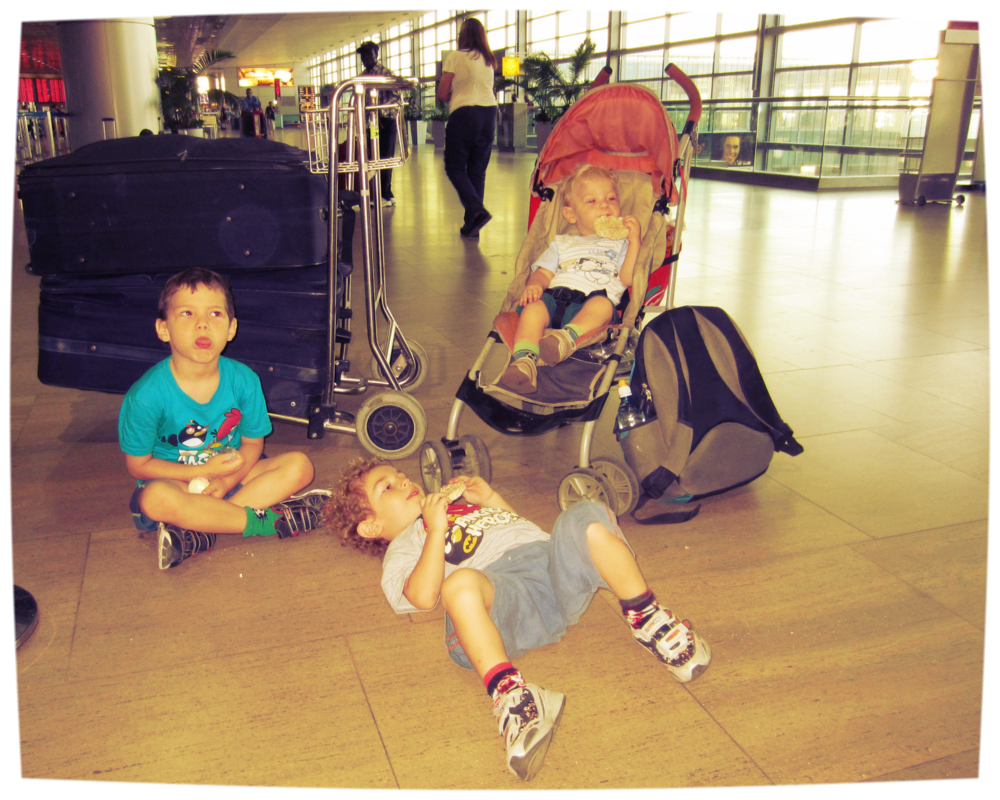 Our kids on the trip over