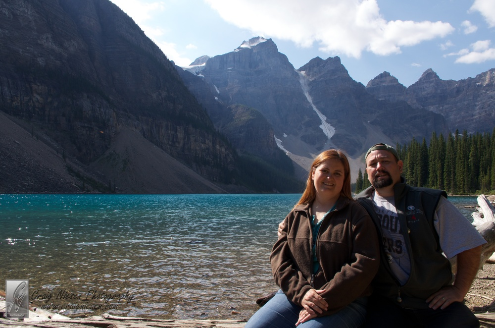 Shelley and I beside Moraine Lake, Banff National Park Canada