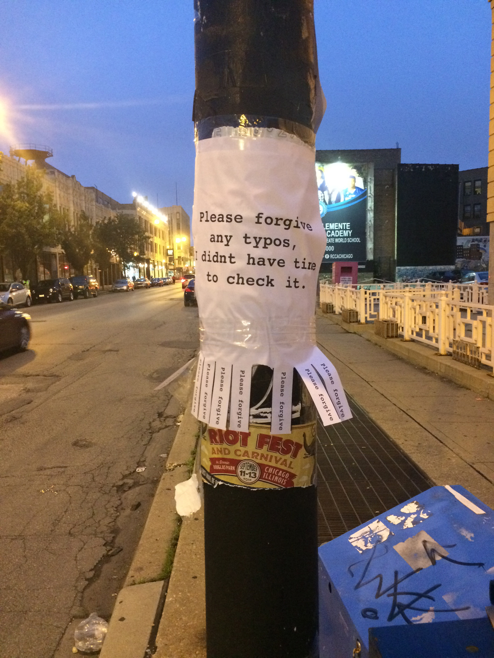 Dylann Roof Manifesto Tear Off Flyer, 2015, Tear Off Flyer, Installed at Milwaukee Ave and Spaulding Ave, Chicago, IL.