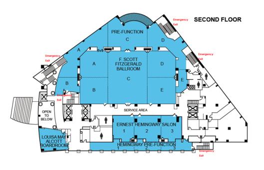 Second floor layout of Westin Arlington Gateway