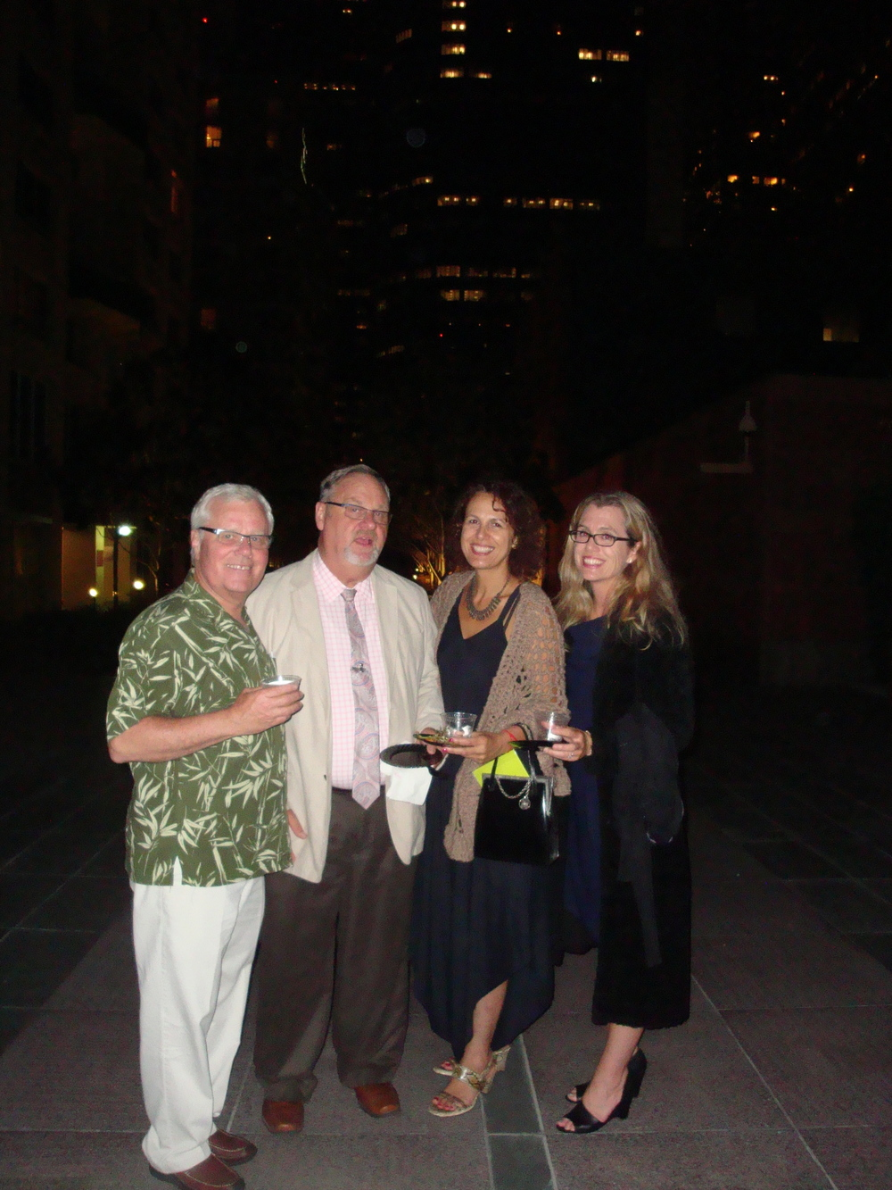 Second from left, Harold Sutherland Los Angeles Asylum Office, Dalia Setareh Senior Attorney at LAFLA with friends