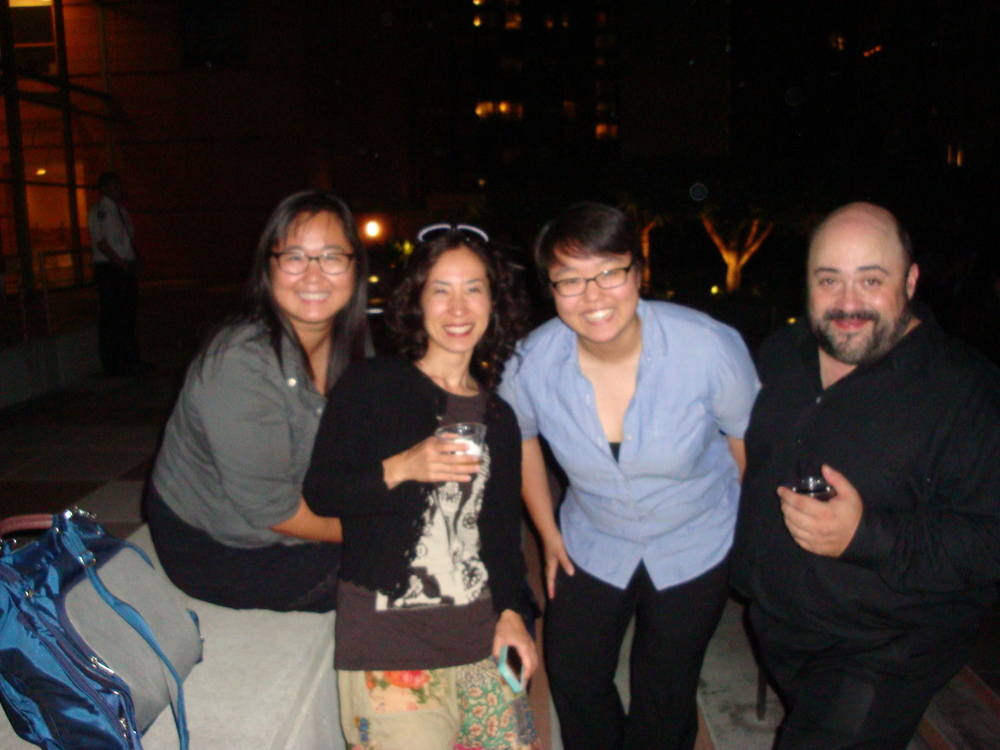 Second from left, Ayano Kataoka and friends with Guitarist Pablo Gómez, right