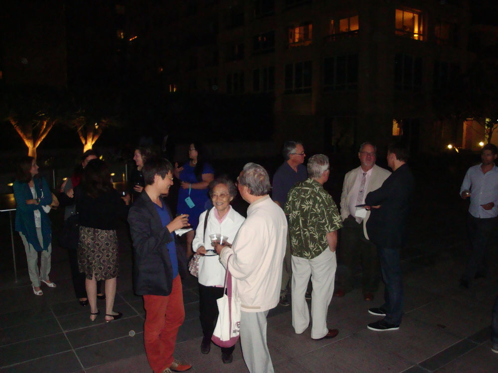 Lei Liang with parents and guests at the post performance reception