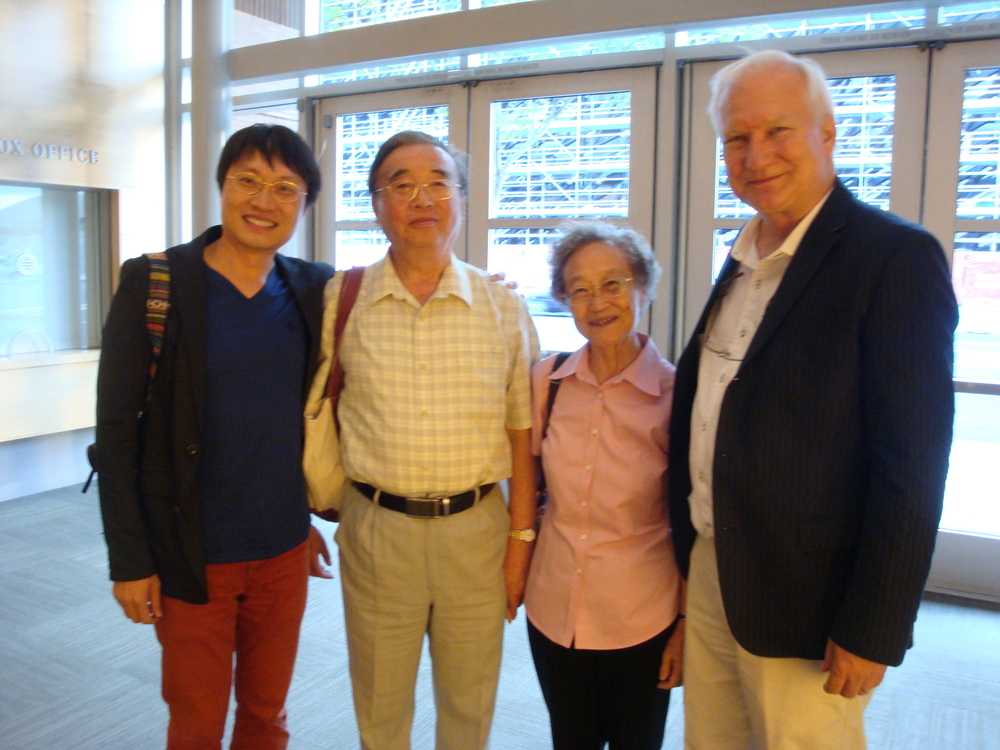 Lei Liand and parents with David Rutherford