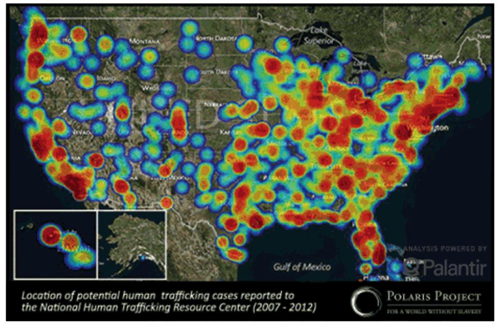 Raising Awareness Cuatro Corridos - Human trafficking us map