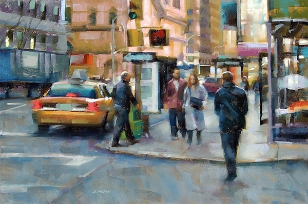 """Street Corner, New York City"" 24""x 36"" pastel"