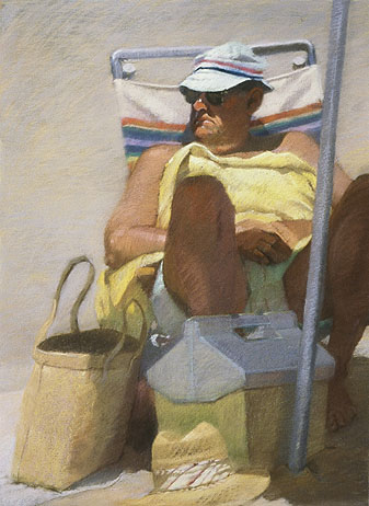 MAN WITH YELLOW TOWEL Pastel on paper 36 x 24