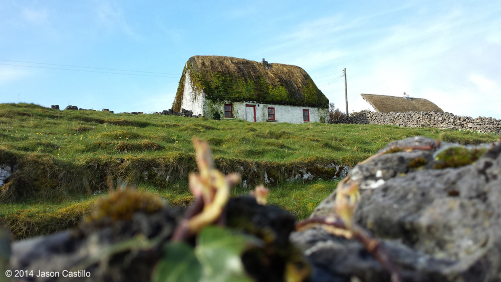 A thatched roof home on the island of Inishmore - the largest of the Aran Islands.