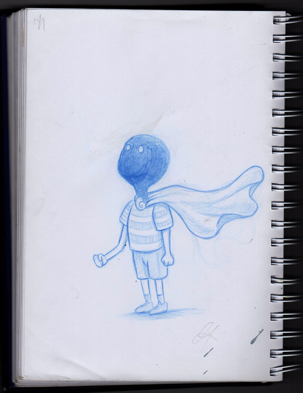 Superhero - blue pencil