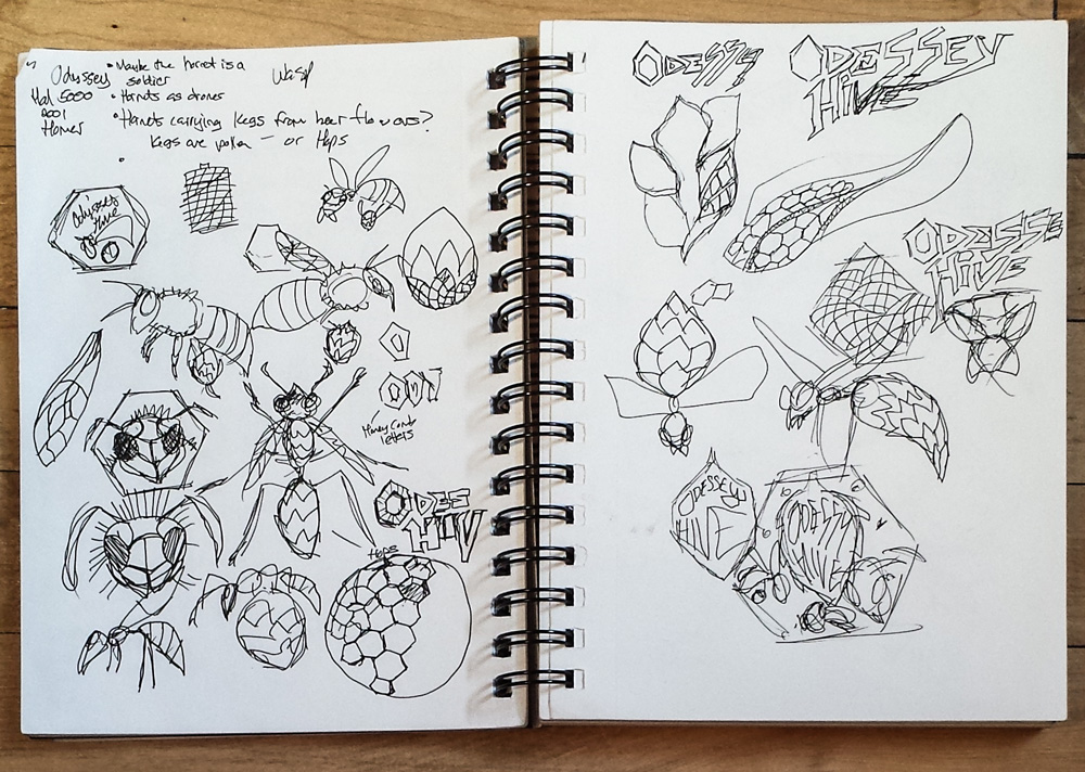 Not really finding a theme yet. Just exploring honeycomb shapes, hop cones and random bees.