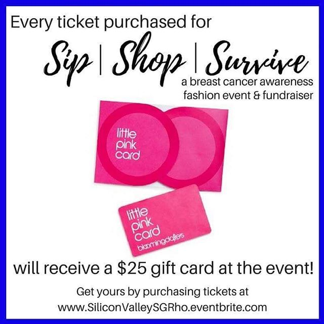 Beauty, fashion, swag bags, AND a gift card? Purchase your ticket today (link in bio) and have a great day sipping, shopping, and supporting the Stanford Cancer Institute - Community Partnership Program. Hurry - there's only a few days left to buy tickets!  #SigmaGammaRho #SGRho #SiliconValleySGRho#WesternSGRho #SiliconValley #PaloAlto #Stanford #Bloomingdales #Charity #Donate #ShopforaCause #Shopping #BreastCancer #Cancer