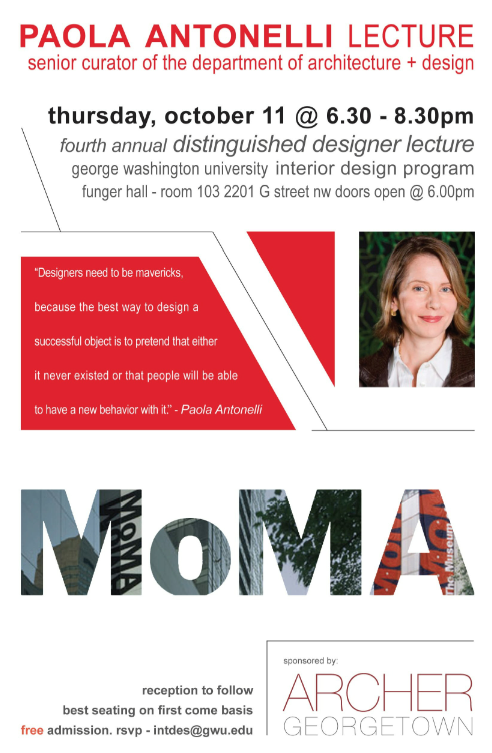 Lecture by MoMA's senior curator of the Dept. of Architecture + Design this Thursday!