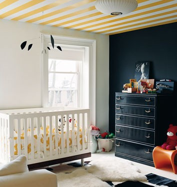 wallpapered ceiling nursery.jpeg