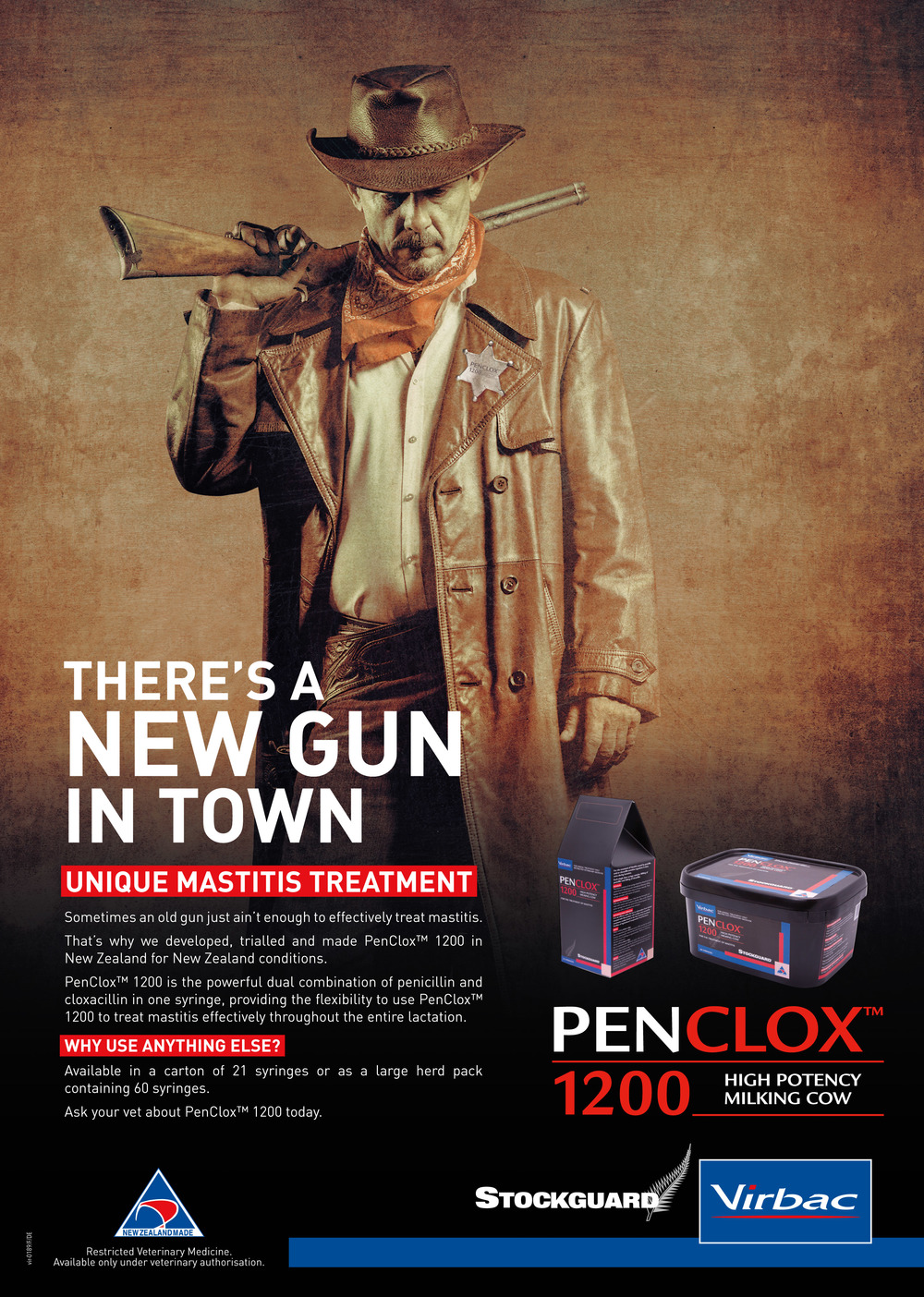 The full page advertisement for PenClox 1200 that appeared in the New Zealand Dairy Exporter. A comprehensive, year long advertising media schedule was planned for Penclox 1200 by  Rainmakers Media.