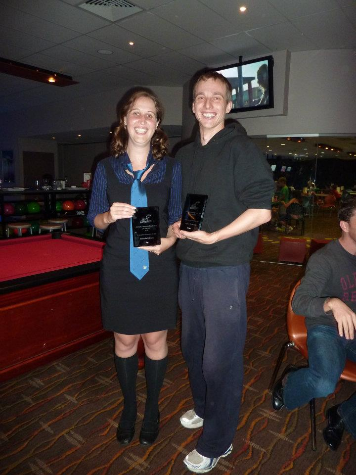 Belinda Gibson and Jeffrey Dutschke with their Life Membership awards (Summer EOS 2012).