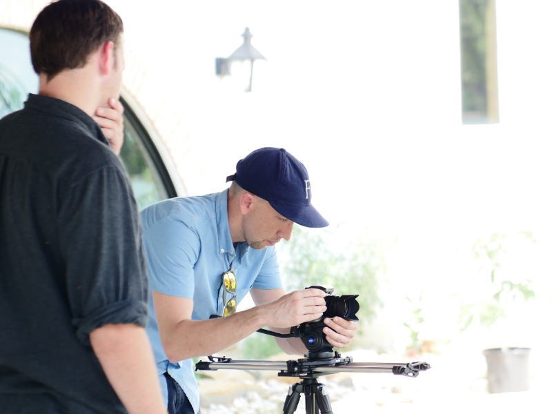 My business partner Jake showing how to run the Lumix G7 on a Benro Slider