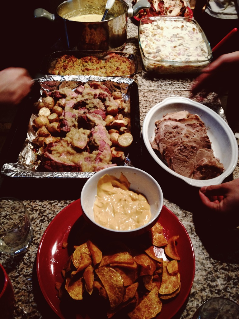A tasting menu: sweet potato chips, pork with caramelized apples, corn chowder with chipotle crème fraiche. In the far back right: the turkey melon (giant blob of turkey meat wrapped in bacon; visit Tumblr to see it in all its gluttonous glory).