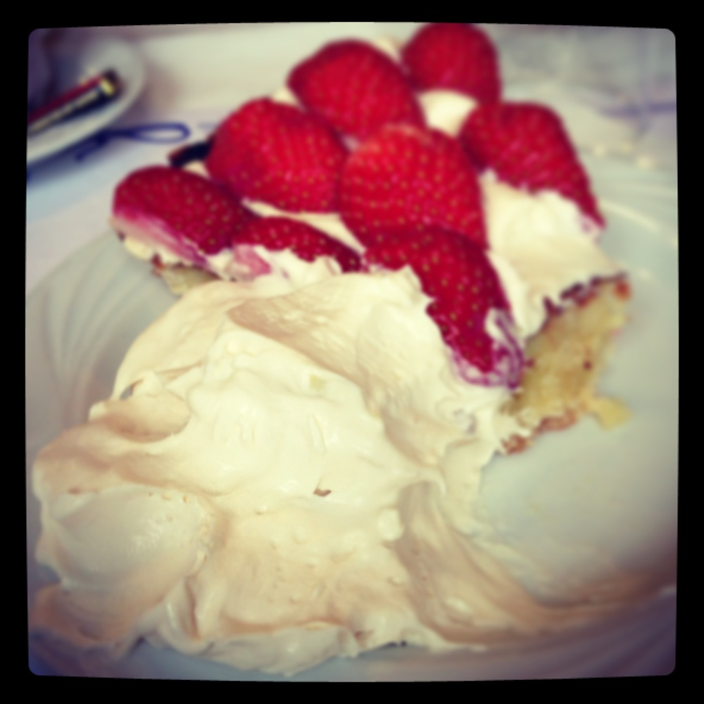 The famous cream with a slice of strawberry tart. Almost makes up for the fact that I didn't celebrate Pi Day this year.