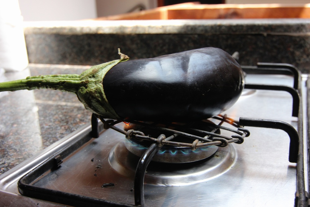 Grilling the eggplant.