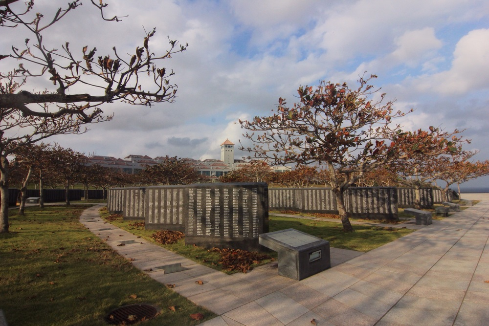 Peace park with museum in the background.
