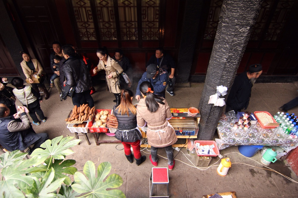Vendors in the main palace.